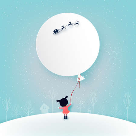 Merry Christmas and winter season background.The girl and her balloon with Santa Claus in sleigh.Paper art vector illustration. 向量圖像