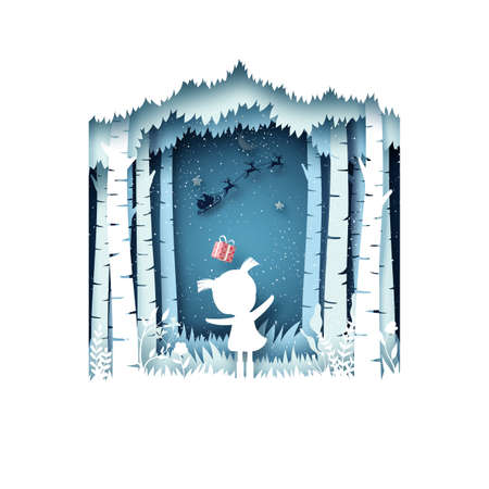 Merry Christmas and winter season background.The girl and her gift from Santa Claus in sleigh.Paper art vector illustration. 向量圖像