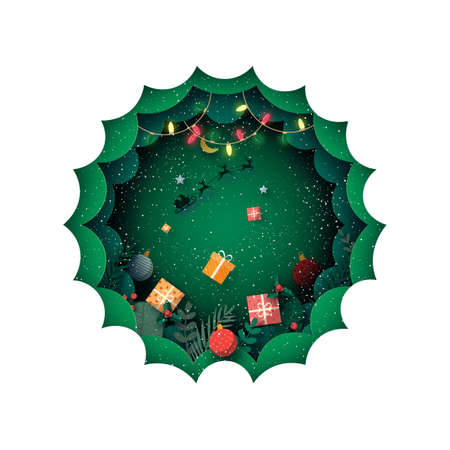 Merry Christmas and winter season in green background decorated with gift box and santa Claus in sleigh.Paper art vector illustration.