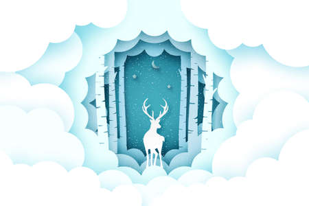 Merry Christmas and winter season background.Deer in pine forest with cloud.Paper art vector illustration. 向量圖像