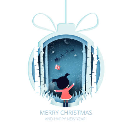 Merry Christmas and winter season background.The girl in christmas ball with her gift from Santa Claus in sleigh.Paper art vector illustration.