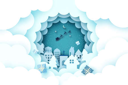 Merry Christmas and Happy New Year.Winter season landscape with Santa Claus in sleigh.Paper art vector illustration.