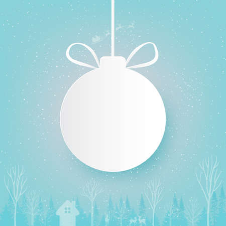 Merry Christmas and Happy New Year.White christmas ball on winter season landscape with Santa Claus in sleigh.Paper art vector illustration.
