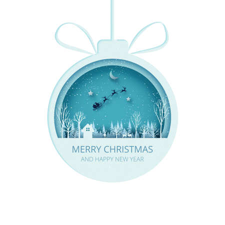 Merry Christmas and Happy New Year.Paper cut christmas ball on winter season landscape with Santa Claus in sleigh.Paper art vector illustration.