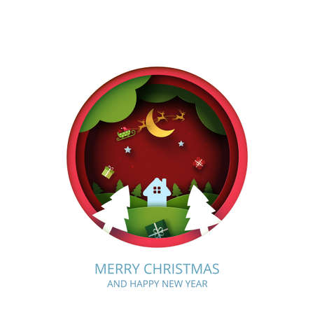Merry Christmas and winter season landscape on red background.Red circle decorated with gift box and santa claus in sleigh.Paper art vector illustration. 向量圖像
