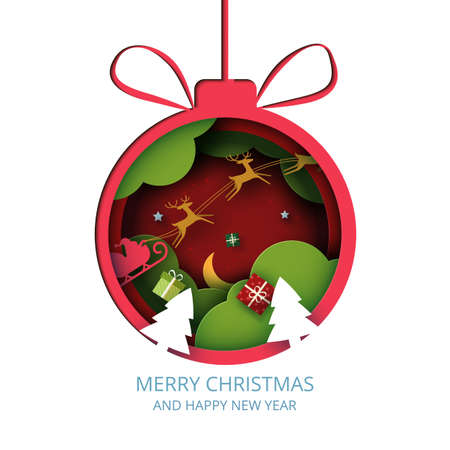 Merry Christmas and winter season on red background.Red christmas ball decorated with gift box and santa claus in sleigh.Paper art vector illustration. 向量圖像