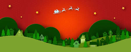 Merry Christmas and Happy New Year.Winter season landscape background.Santa Claus in sleigh and urban countryside.Paper art vector illustration.
