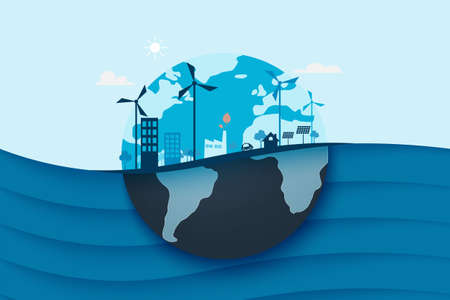 Blue ocean and eco city background.Ecology and Environment conservation resource sustainable concept.Vector illustration.