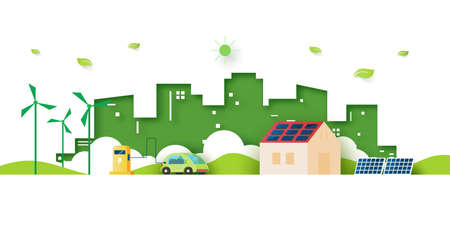 Alternative energy and Ecology concept.Electric Car and Green eco city background.Environment conservation resource sustainable.Vector illustration. Vettoriali