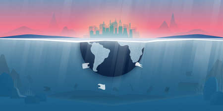 World ocean pollution and climate change concept.Plastic waste in the ocean,Underwater sea scene.Environment conservation resource sustainable.Vector illustration.