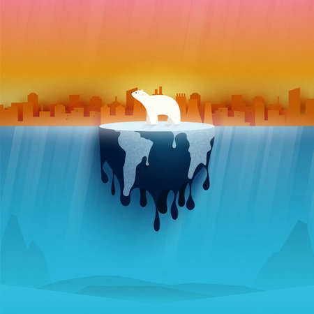 Polar bear on melting earth.Climate change and Global warming concept.Temperature rising and air pollution from industry.Environment conservation resource sustainable.Vector illustration.
