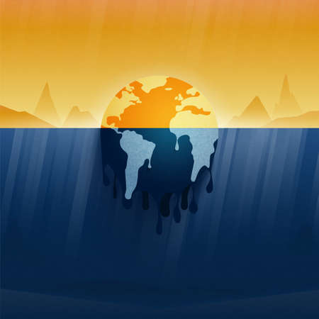 Climate change and Global warming concept.Melting earth.Temperature rising and air pollution from industry.Environment conservation resource sustainable.Vector illustration.