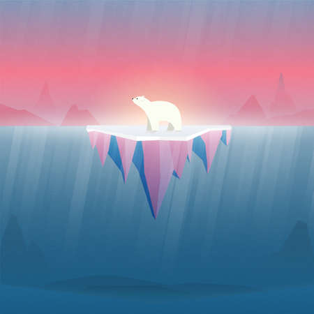 Climate change and Global warming concept.Polar bear on ice.Environment conservation resource sustainable.Vector illustration.