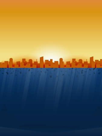 World ocean pollution and climate change concept.Plastic waste from the city and industry in the ocean,Underwater sea scene.Environment conservation resource sustainable.Vector illustration.