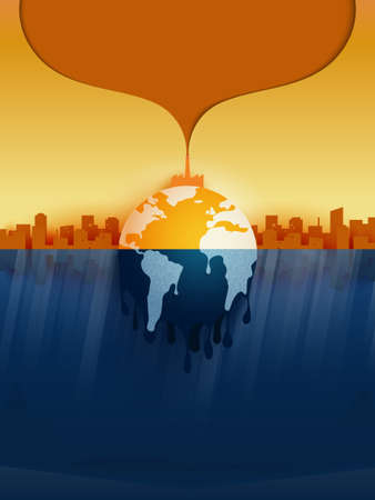 Temperature rising and air pollution from industry.Climate change and Global warming concept.Melting earth.Vector illustration.