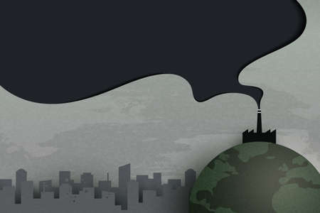Industry chimney pollution with smoke in environment.Global warming and climate change concept.Environment landing page website template background.Paper art vector illustration. Vettoriali