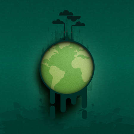 Global warming and climate change concept.Industry chimney pollution with smoke in environment.Environment and Ecology concept background.Vector illustration.