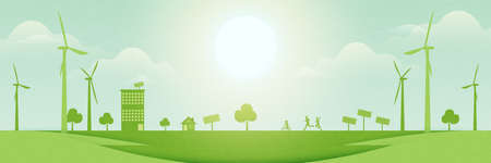 Family enjoy outdoor activities on green park.Green eco city on nature landscape background.Environment and Ecology concept.Vector illustration.
