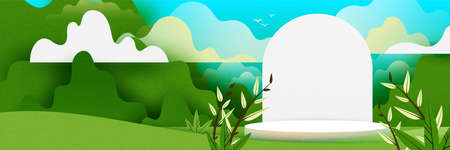 3d Paper cut abstract minimal geometric shape template background.White cylinder podium on green nature landscape background.Vector illustration.