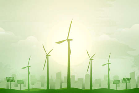 Green eco city background.Ecology and Environment conservation resource sustainable concept.Vector illustration. Vettoriali