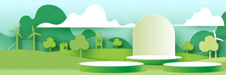 3d Cylinder podium on green nature landscape background.Green ecology and environment concept.Paper art vector illustration. Vettoriali