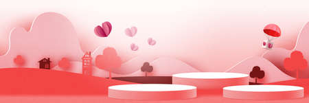 3d Cylinder podium paper cut abstract valentine's day template background.Love and heart on geometrics shape of pink and red nature landscape.Vector illustration.