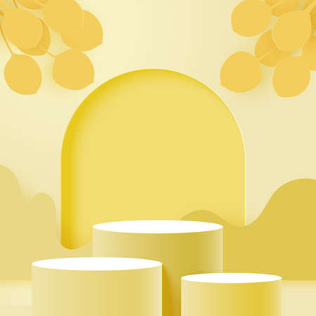 3d Paper cut abstract minimal geometric shape template background.Three cylinder podiums on yellow color scheme scene.Vector illustration.