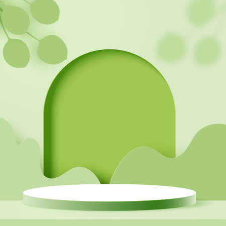 3d Paper cut abstract minimal geometric shape template background.White cylinder podium on green nature landscape scene.Vector illustration.