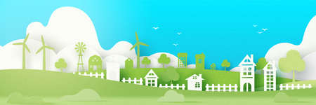 Green eco friendly and save energy concept design.Urban countryside and city village of environment conservation paper art style.Vector illustration.