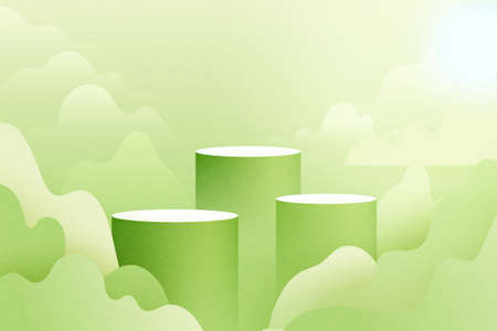 3d Paper cut abstract minimal geometric shape template background.Green cylinder podium on green nature landscape scene with mountains and clouds.Vector illustration.