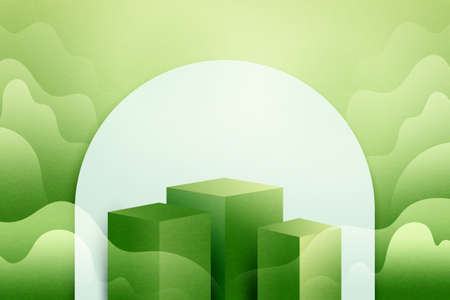 3d Paper cut abstract minimal geometric shape template background.Green podium on green nature landscape scene with mountains and clouds.Vector illustration. Vettoriali