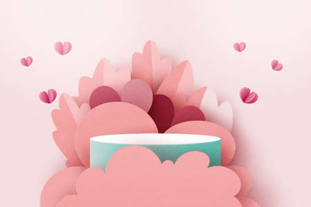 3d paper cut abstract valentine's day template background.Love and heart on geometrics shape of pink concept sale banner or greeting card.Vector illustration.