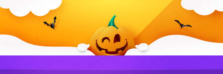 Halloween background design with product display. 3d Paper art abstract minimal geometric shape template background.Vector illustration.