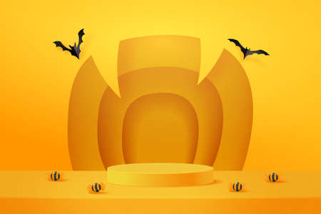 Halloween background design with yellow podium product display. 3d Paper art abstract minimal geometric shape template background.Vector illustration.