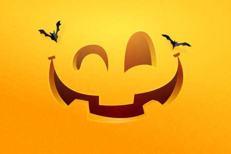 Happy halloween pumpkin face on orange background.Vector illustration.