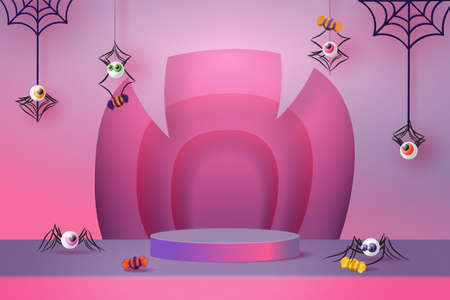 Halloween background design with purple podium product display. 3d Paper art abstract minimal geometric shape template background.Vector illustration.