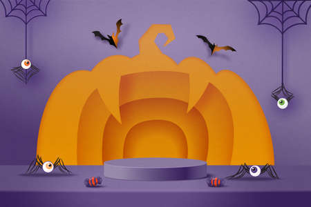 Halloween pumpkin background design with purple podium product display.3d Paper art abstract minimal geometric shape template background.Vector illustration.