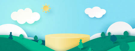 3d Paper cut abstract minimal geometric shape template background.Yellow cylinder podium on Summer season natural landscape scene.Vector illustration.