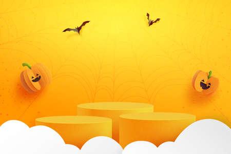 Happy halloween banner background and podium platform template.Halloween pumpkins and flying bats on orange background.3d Paper art style vector illustration.