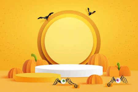 3d Paper art of Happy halloween banner background and podium platform template.Halloween pumpkins and flying bats on orange background.Vector illustration.