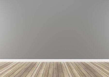 Empty interior Room. wall wood floor concrete light, 3d render background mock up studio template concept
