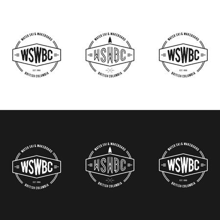 Vintage Water skiing Sport emblem logo vector