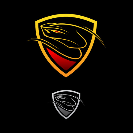 Vector logo design viper shield on the black background. Snake icon. Vettoriali