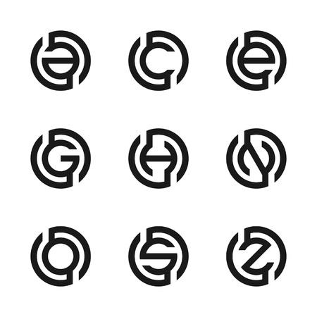 Letter A, C, E, G, H, N, O, S, Z vector illustration of abstract logo design. Set of modern letter. Business logo. Fashion Label, web logo icons, technology logo icons. Vector illustration EPS.8 EPS.10