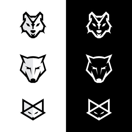 Set fox and wolf face icon. Stock Illustratie