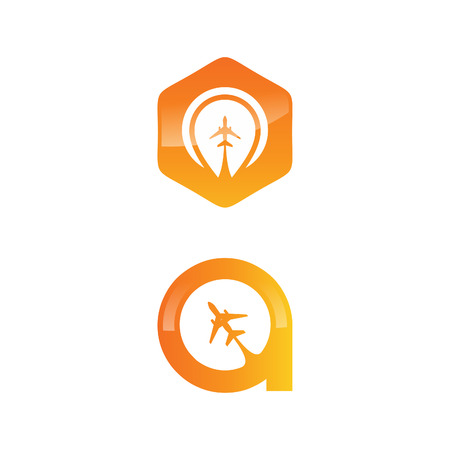Travel logo icon with planes vector illustration set