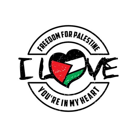 Libertà per il disegno vettoriale in Palestina. Bandiera a forma di cuore emblema vintage per la Palestina. Adoro la Palestina, sei nel mio cuore. Illustrazione vettoriale