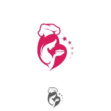 Female chef and cake logo vector illustration set