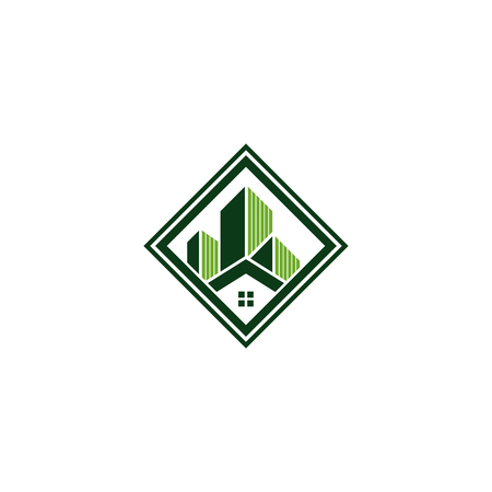 Real estate logo concept illustration. Building logo in classic graphic style. Abstract vector logo of buildings. Vector illustration
