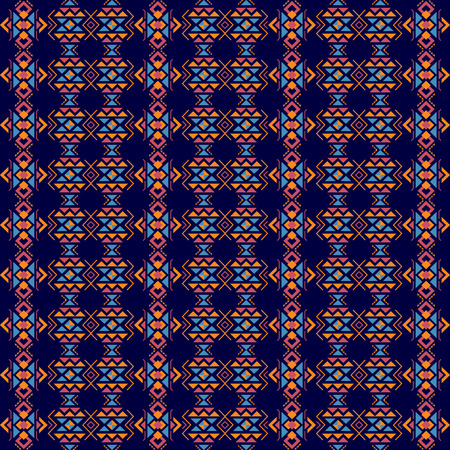 Abstract colorful geometric ethnic pattern design for background or wallpaper on blue background. Vector illustration. Illustration